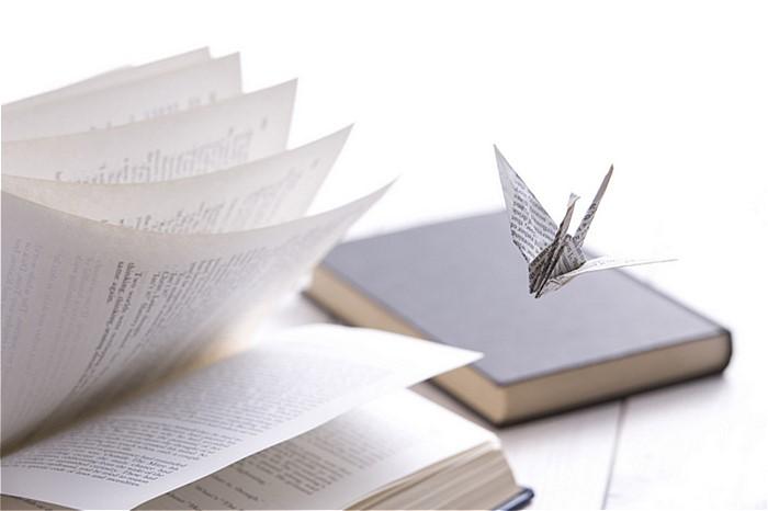 書籍と折り鶴の写真
